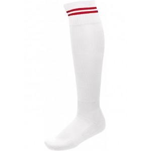 voetbalkousen met contrastreep wit/rood